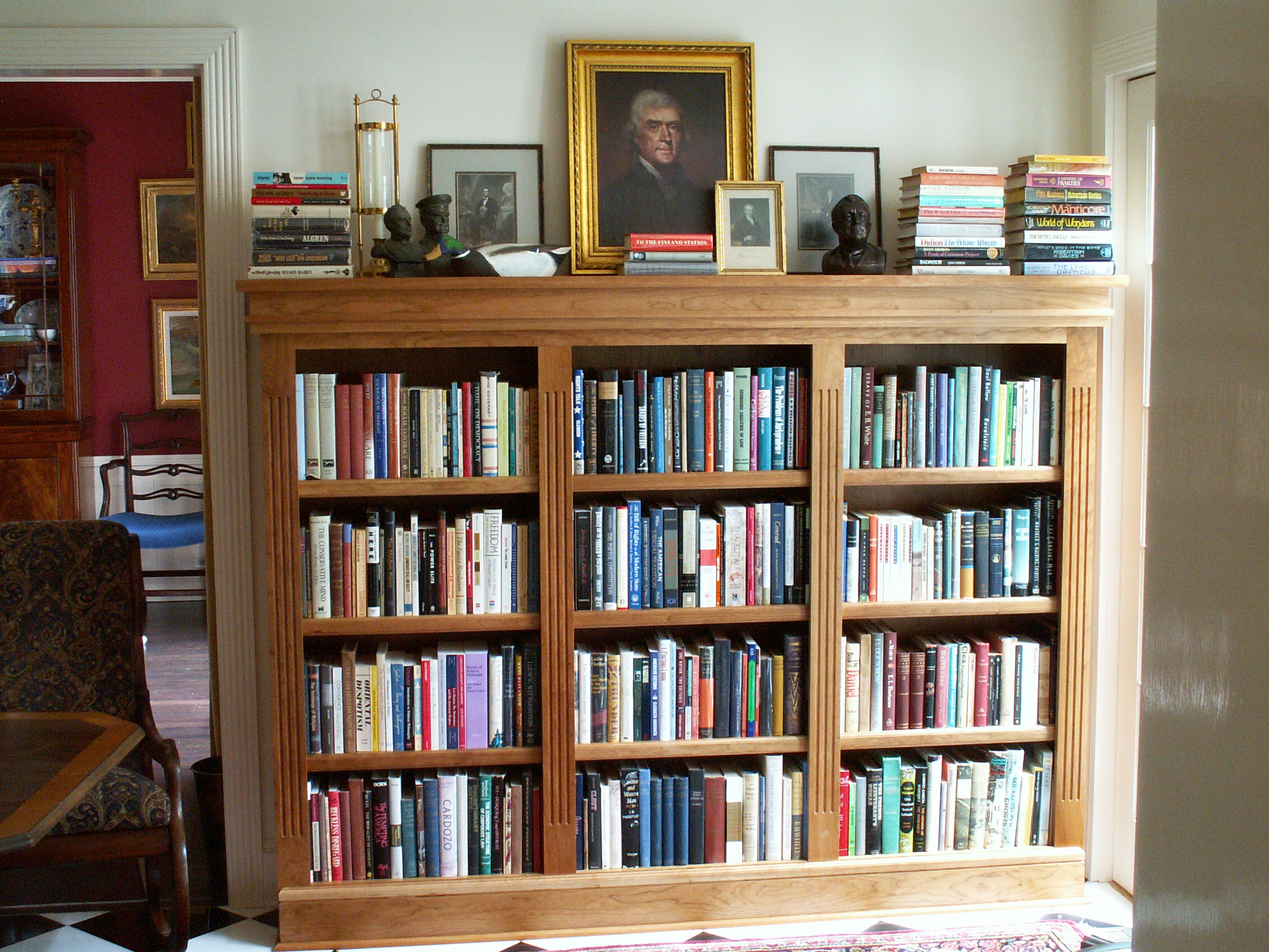 Built In Cherry Triple Bookshelf With Fluted Detail